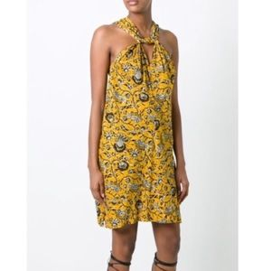 Isabel Marant Etoile Aba Yellow Twist Front Dress